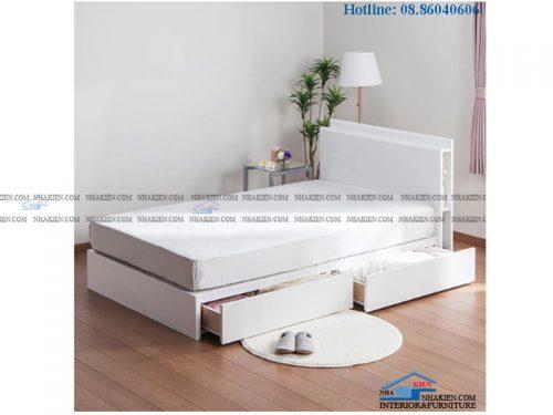 Giường hộc kéo màu trắng