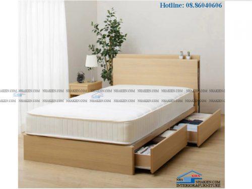Giường hộc kéo vân gỗ vàng