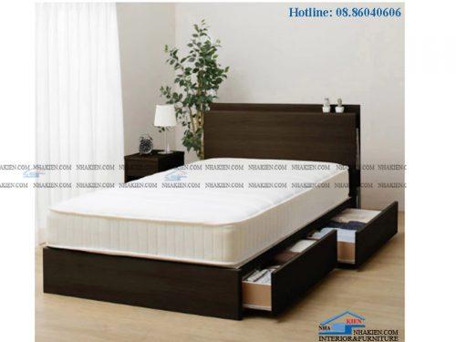 Giường hộc kéo màu vân gỗ nâu