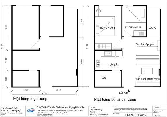 Mặt bằng thiết kế căn hộ 2 phòng ngủ First Home Quận 12