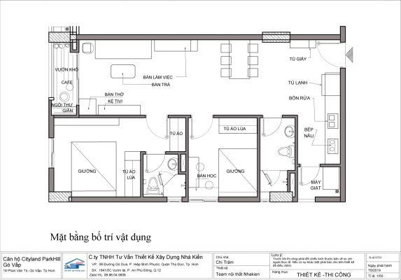 Mặt bằng bố trí vật dụng căn hộ 2 phòng ngủ- Căn hộ Cityland ParkHill