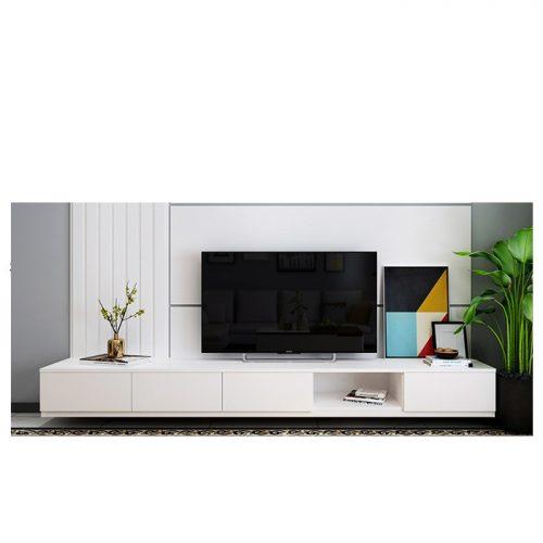 Kệ tivi treo tường màu trắng có hộc kéo