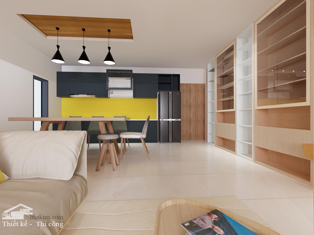 Thiết kế Bếp chung cư Palm Heights 3 phòng ngủ