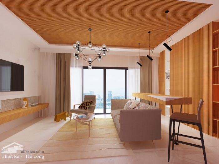 Thiết kế nội thất Phòng Khách chung cư Palm Heights 3 phòng ngủ