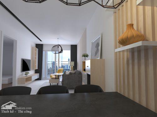 Thiết kế phòng khách chung cư cityland park hills 2 phòng ngủ