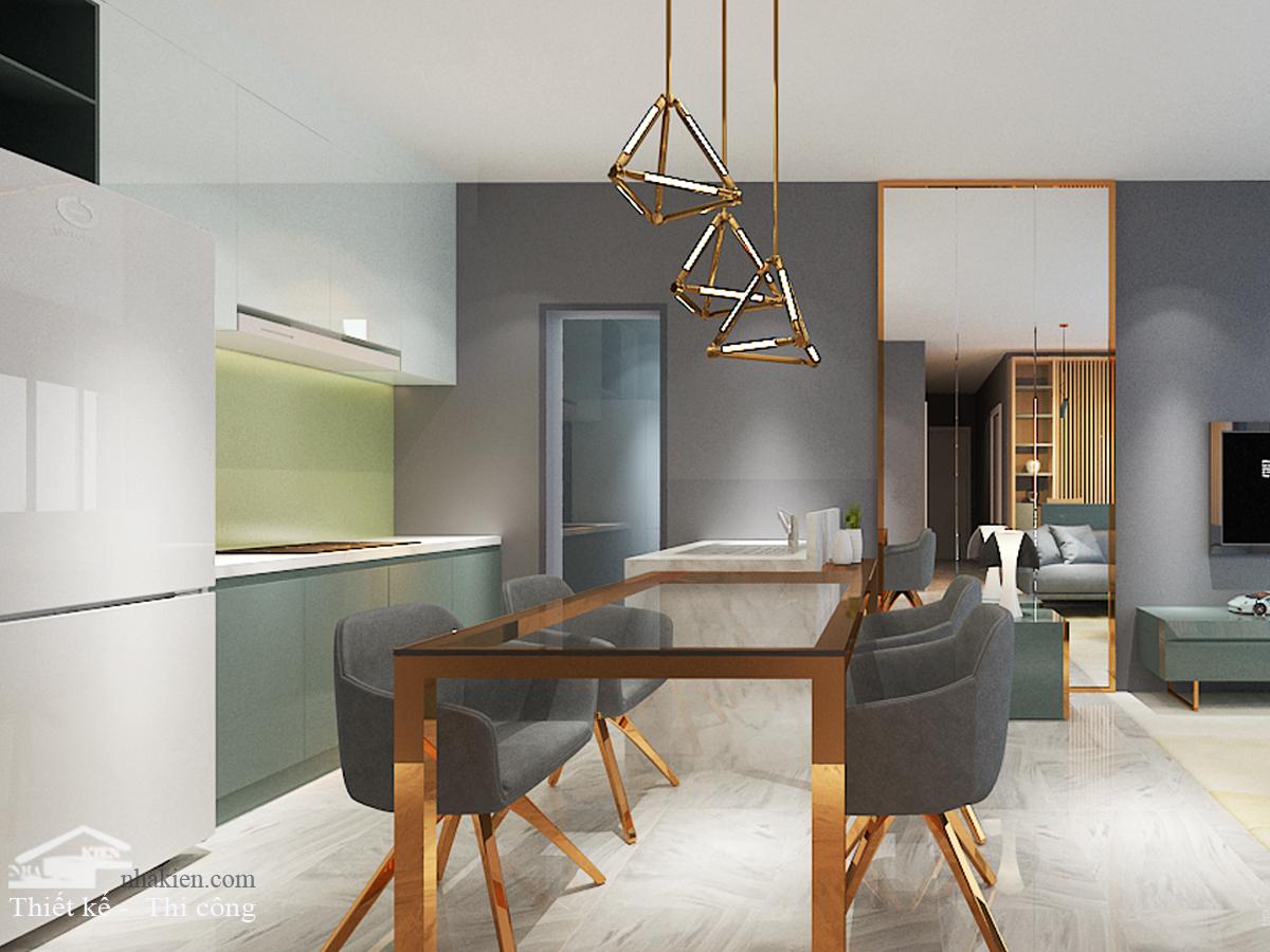 Thiết kế bàn ăn bếp đảo nội thất chung cư masteri an phú 3 phòng ngủ NKAP2