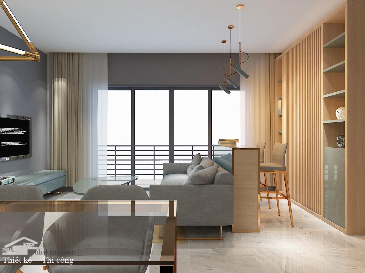 Thiết kế nội thất phòng khách 2 chung cư masteri an phú 3 phòng ngủ NKAP2