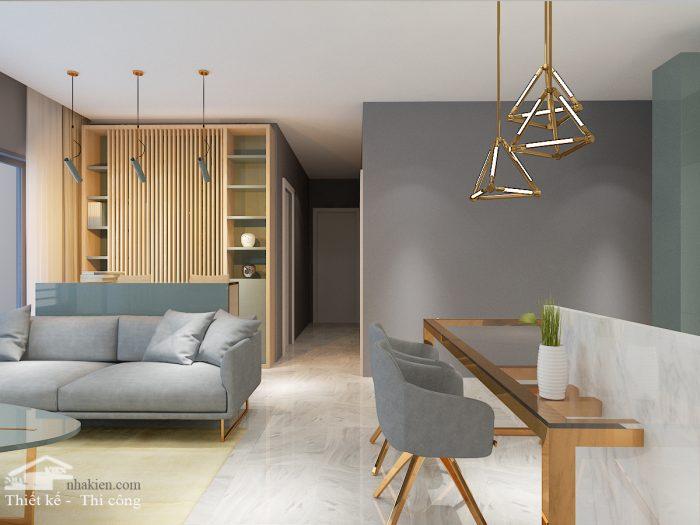 Thiết kế nội thất phòng khách chung cư masteri an phú 3 phòng ngủ NKAP2
