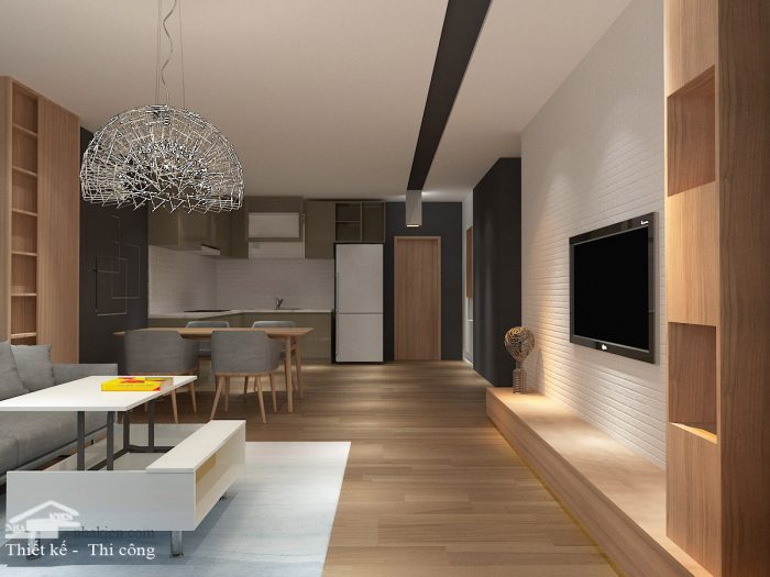 Thiết kế nội thất phòng khách chung cư flora novia