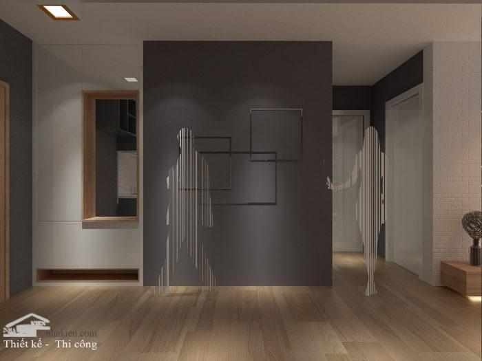 Thiết kế tủ giầy lối vào chung cư flora novia