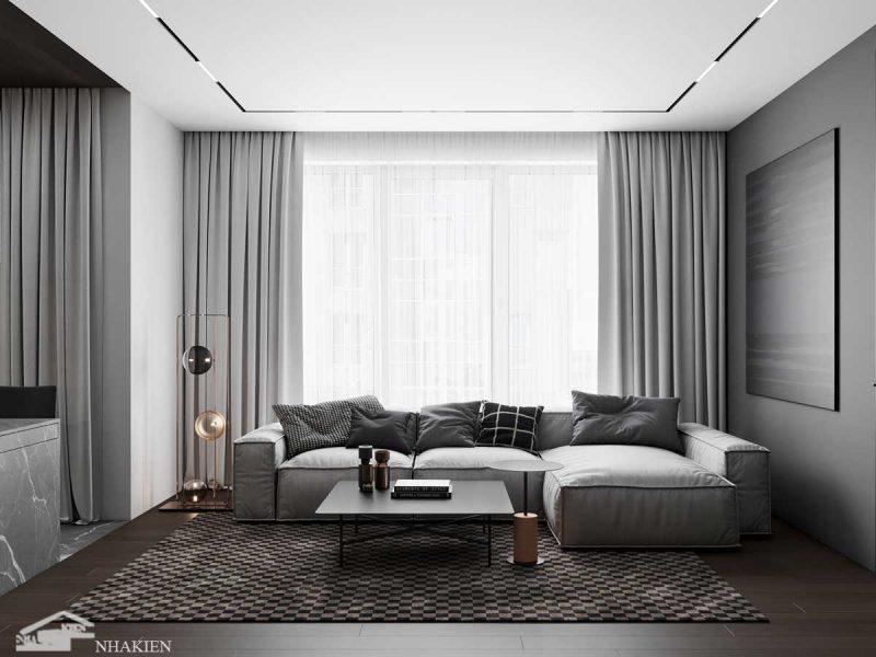 Thiết kế nội thất phòng khách với chiếc ghế sofa xám trắng